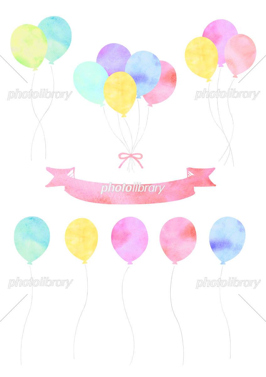 Watercolor wind balloon set イラスト素材