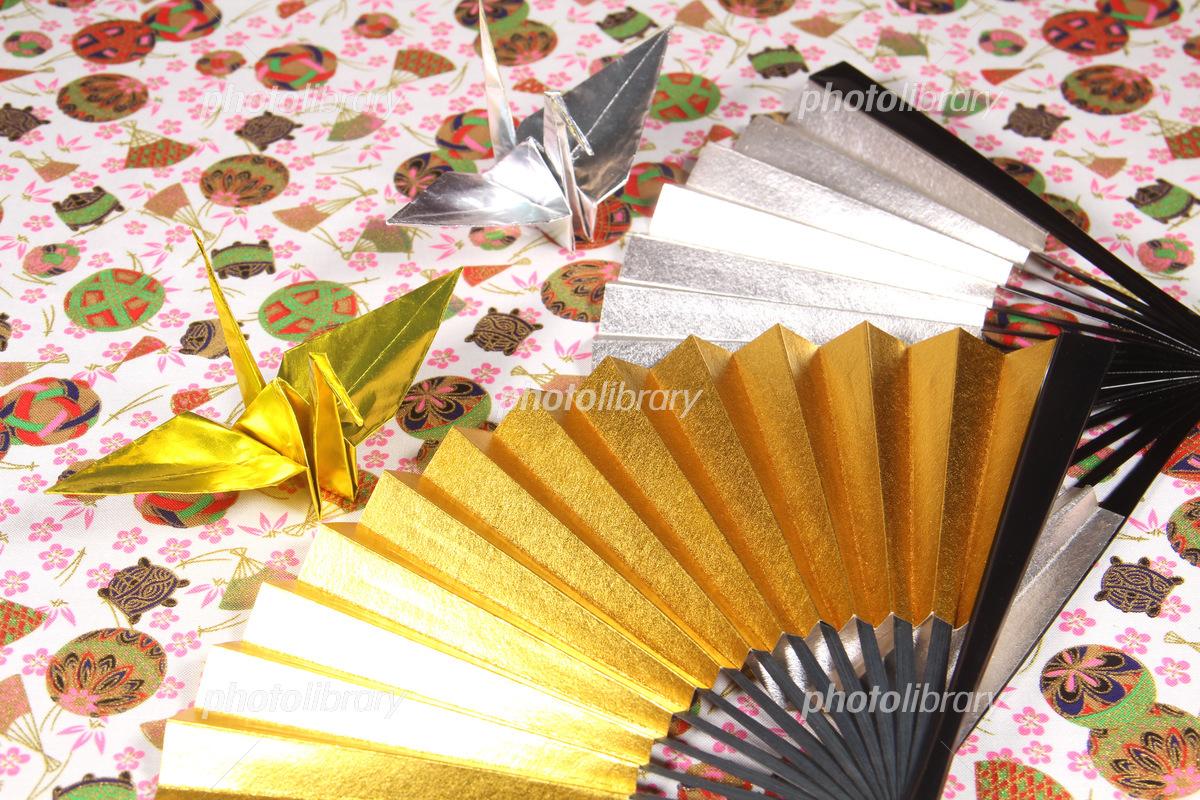 Gold fan, silver fan and folding crane Photo