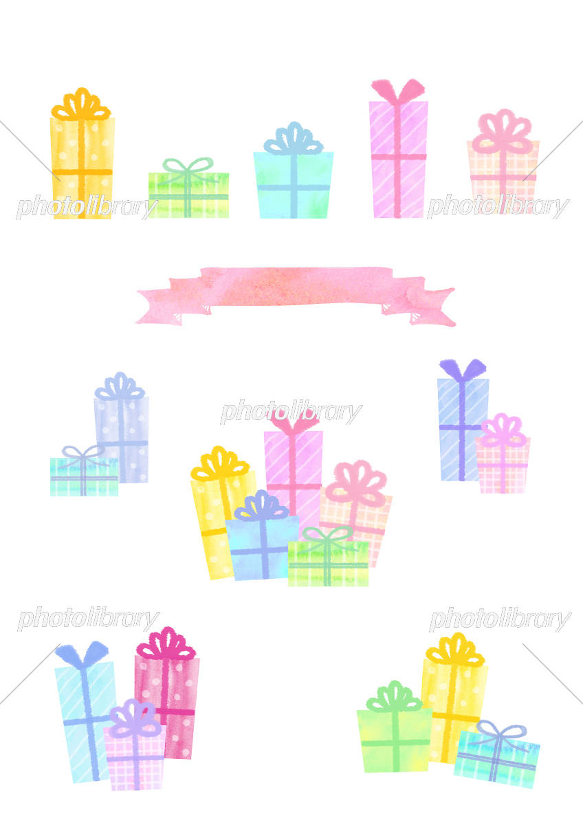 Hand-drawn style gift set イラスト素材