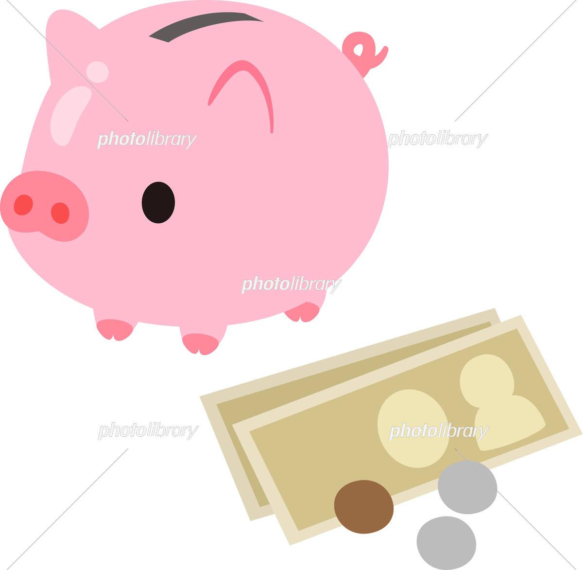 ブタの貯金箱とお金 イラスト素材 5462478 フォトライブラリー