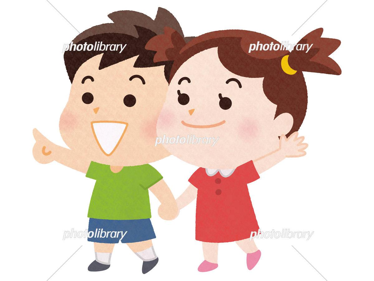 笑顔で手をつなぐ男の子と女の子 イラスト素材 [ 5462815 ] - フォト
