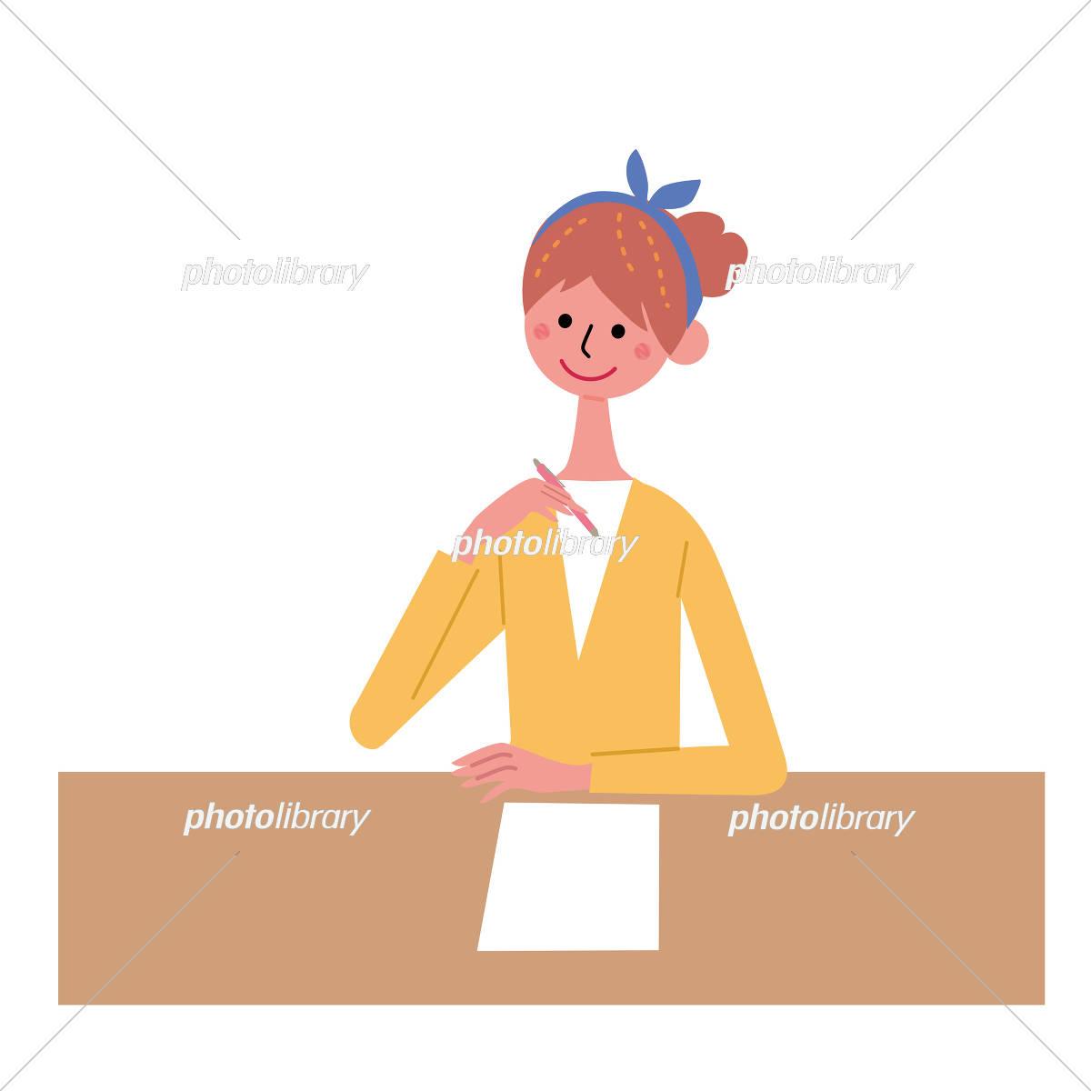 書類を書く 女性 イラスト イラスト素材 5466533 フォトライブ