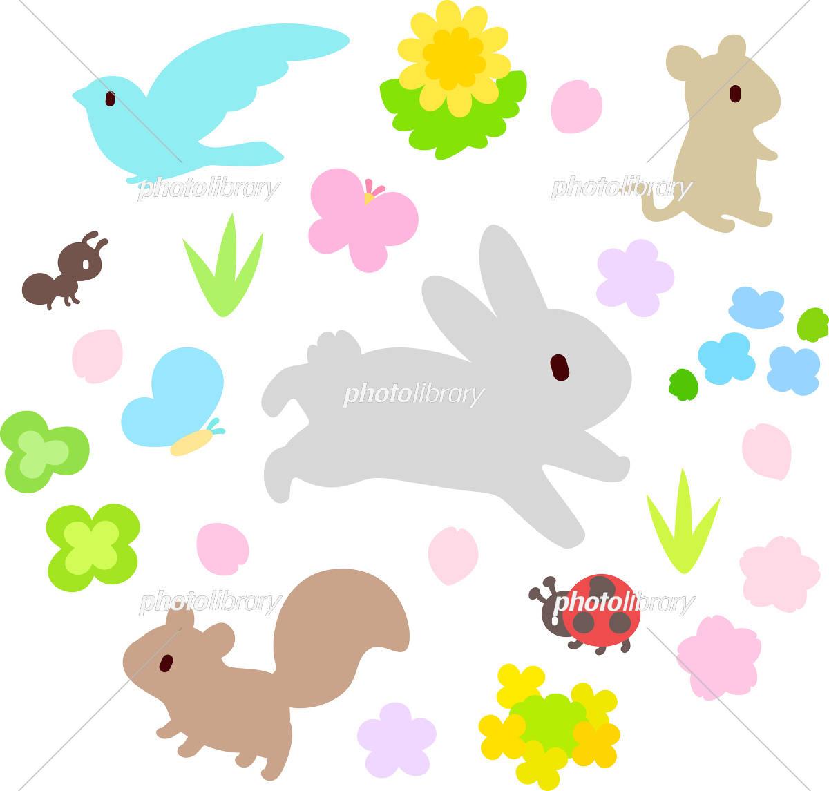 春の花と動物 イラスト素材 [ 5495468 ] - フォトライブラリー photolibrary