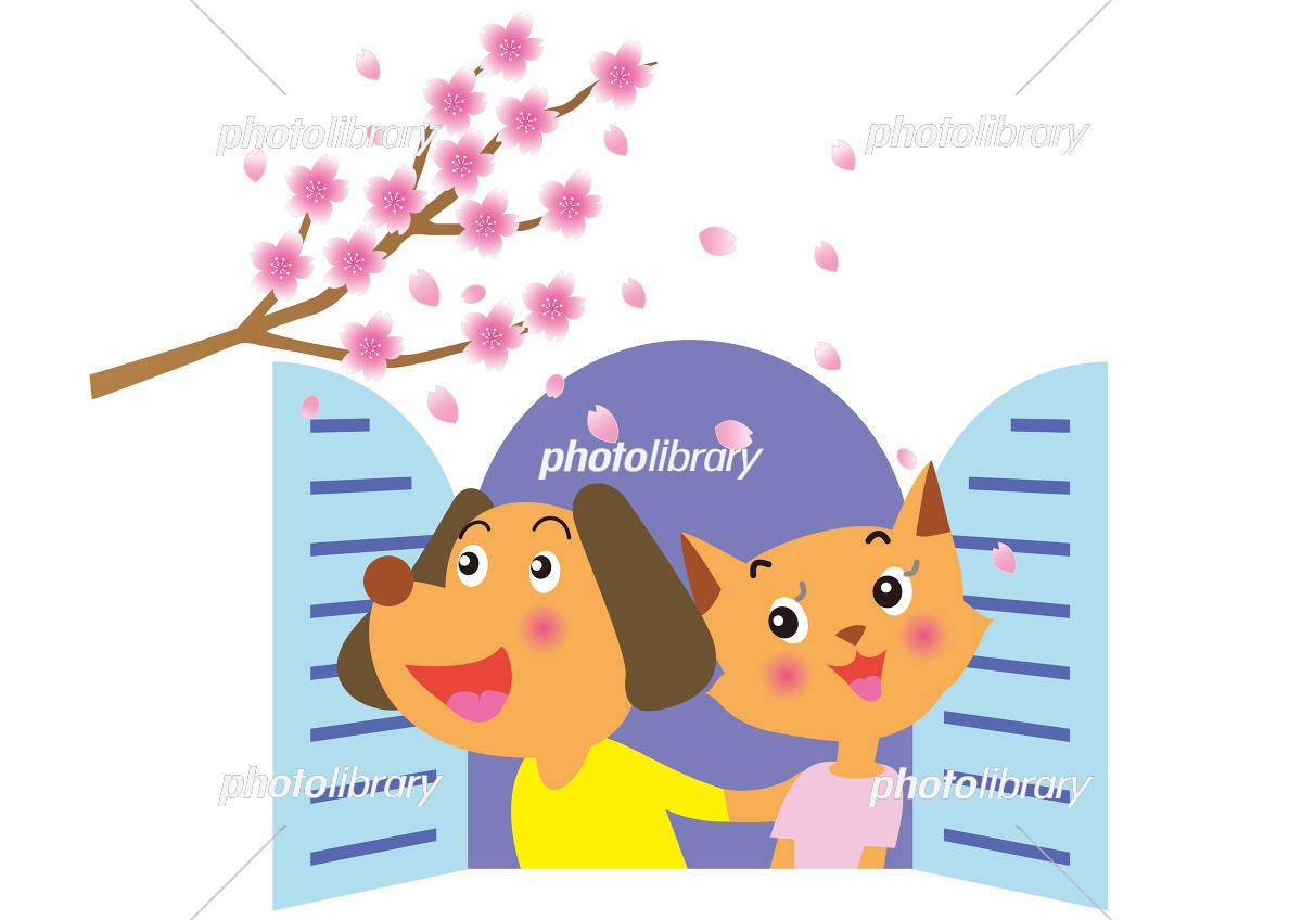 窓辺の桜を見る犬と猫のカップル イラスト素材 [ 5500315 ] - フォト