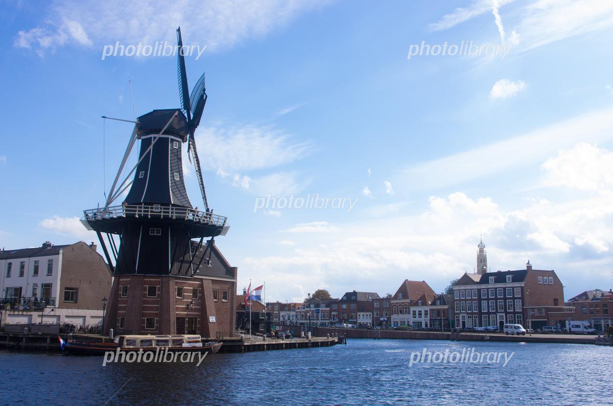 ハールレムの風車と街並み 写真...