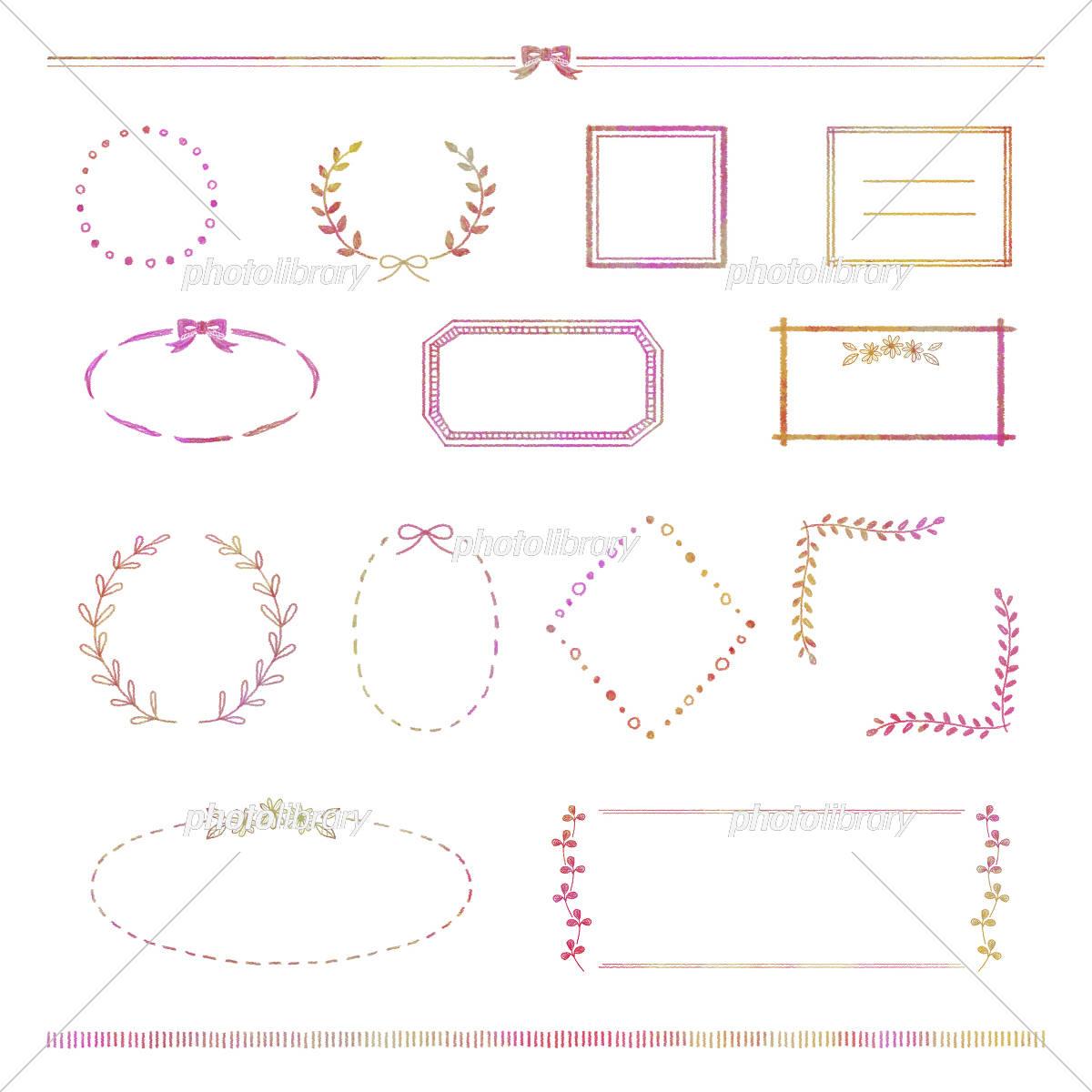 手描きフレームセット(あか) イラスト素材 [ 5530824 ] - フォトライブ