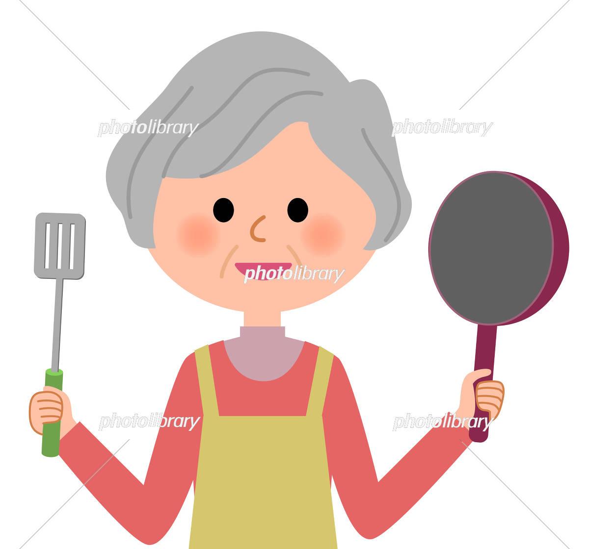 シニア女性 料理 イラスト素材 [ 5531576 ] - フォトライブラリー