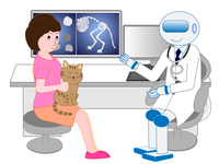 Robot of artificial intelligence Cat of pet to be examined from veterinarian vector