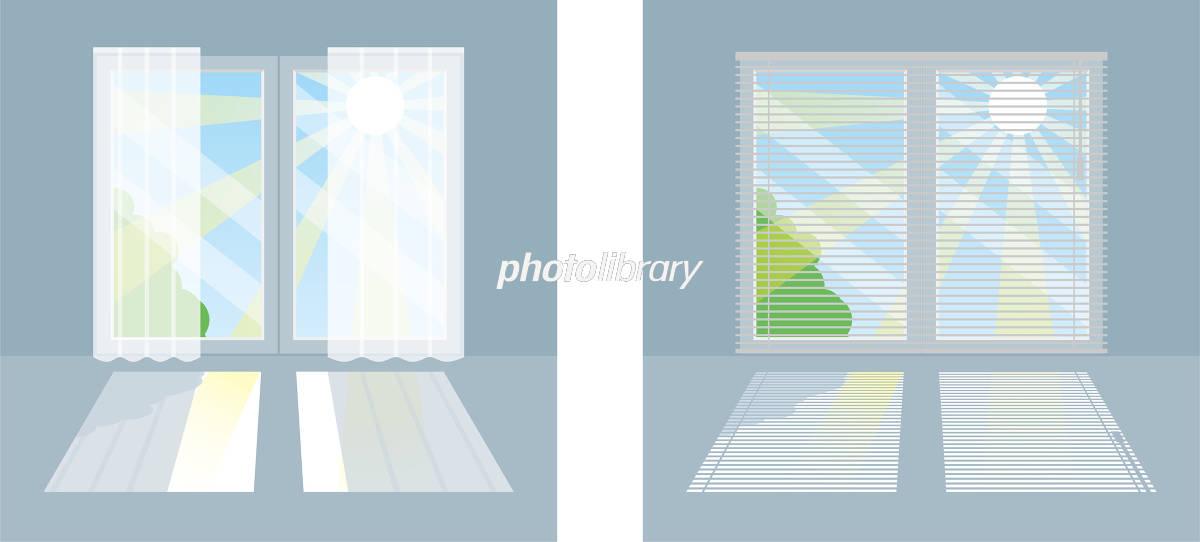 窓の日差しを遮る方法カーテンとブラインド イラスト素材 5564730