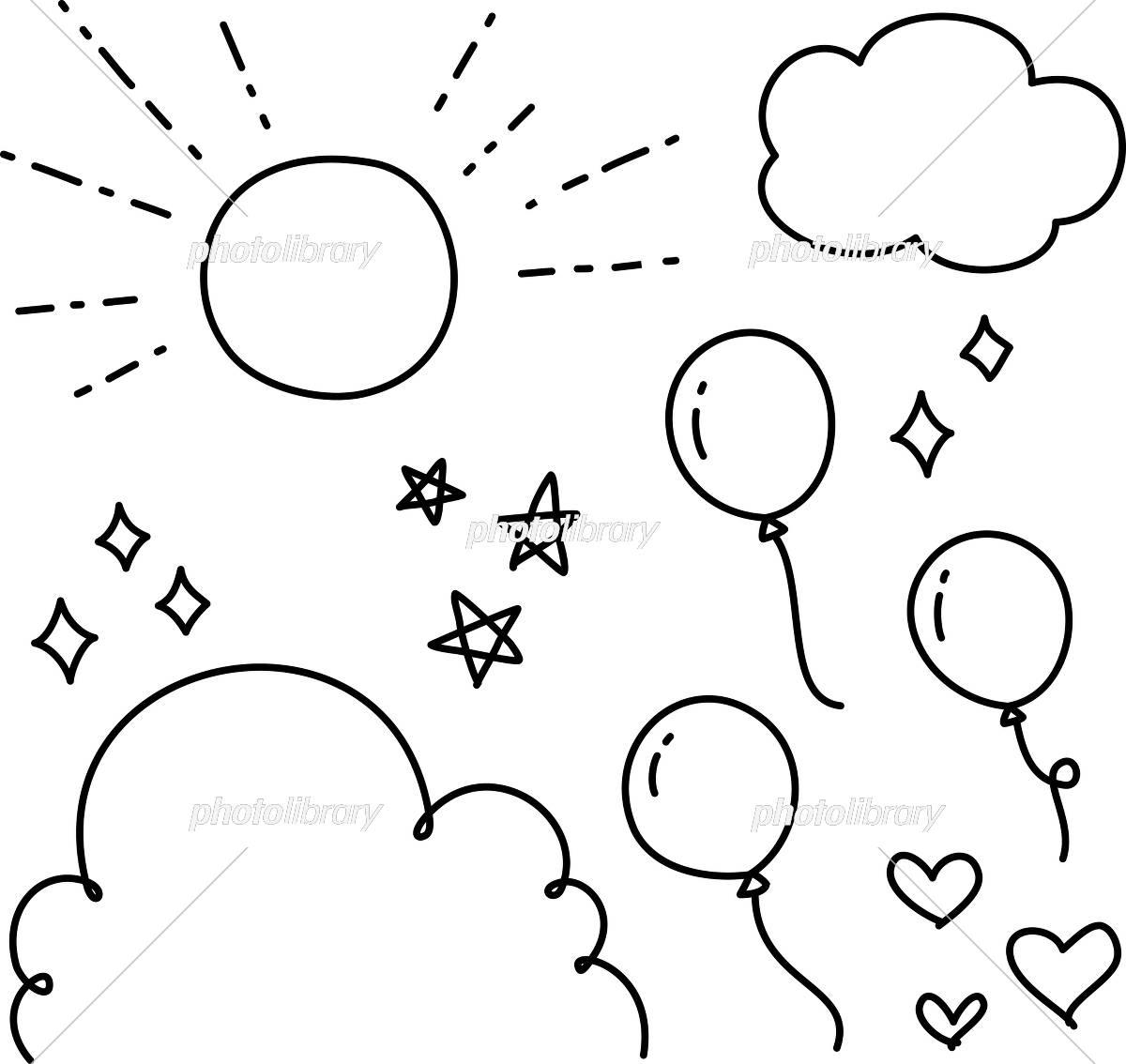 手書きの空と風船のイラストセット イラスト素材 [ 5566361 ] - フォト
