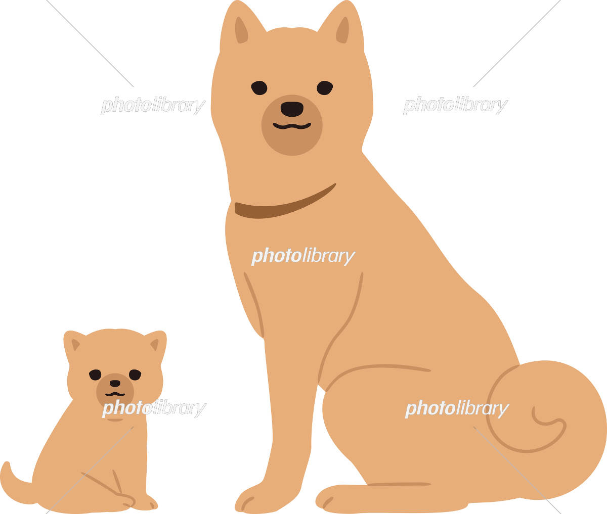 犬の親子 横向き イラスト素材 [ 5605856 ] - フォトライブラリー