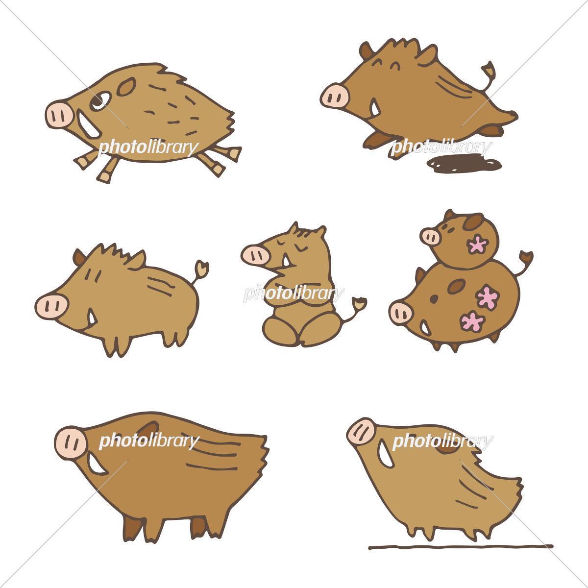 手書き 猪のイラスト 年賀状素材 干支動物 イラスト素材 [ 5674695
