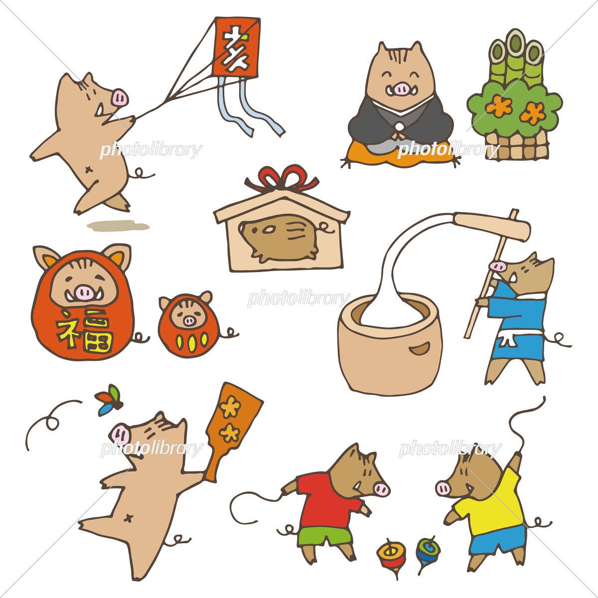 手書き 猪のイラスト 年賀状 お正月素材 干支動物 イラスト素材