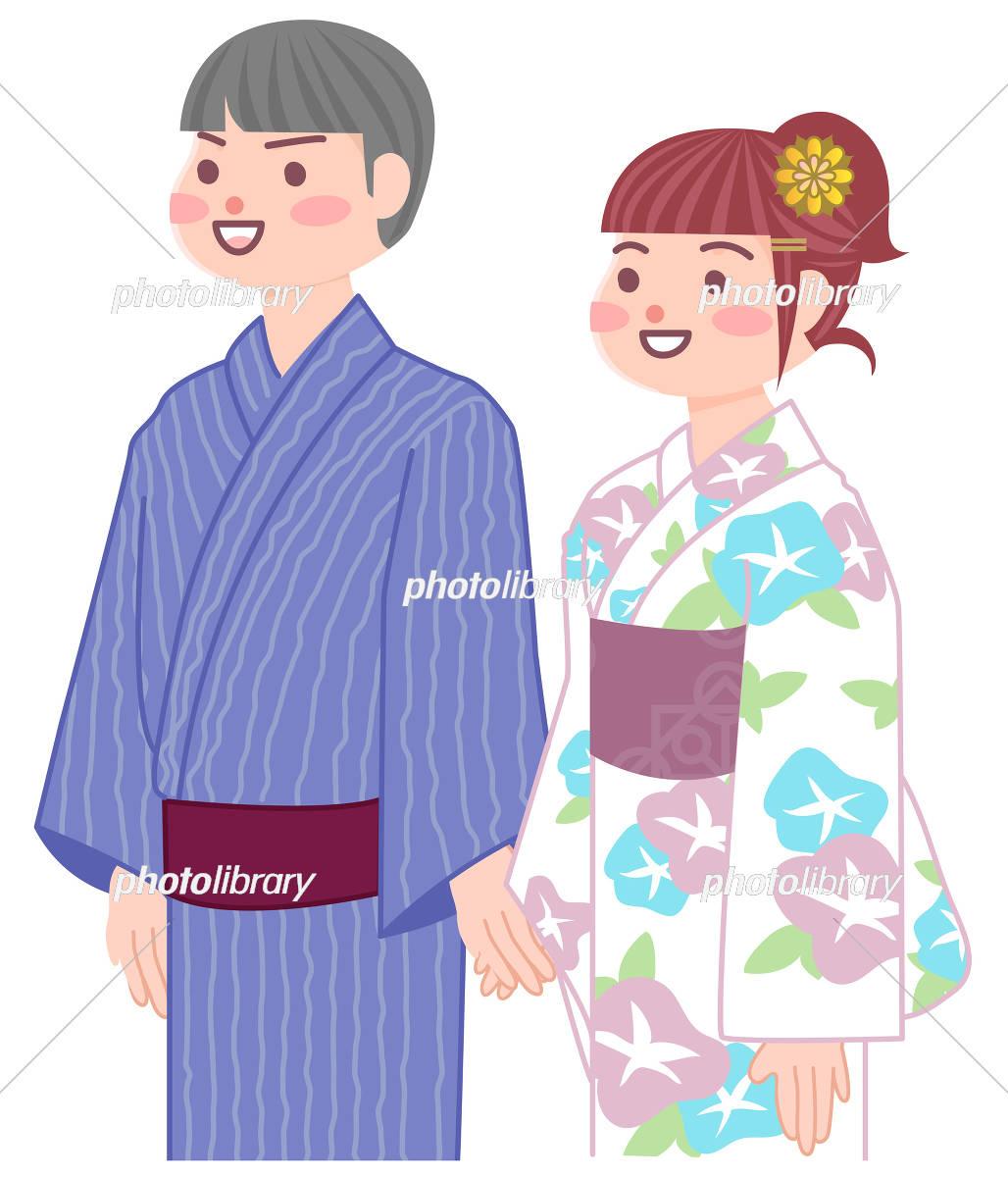 浴衣でデートをするカップル イラスト素材 [ 5677346 ] - フォトライブ