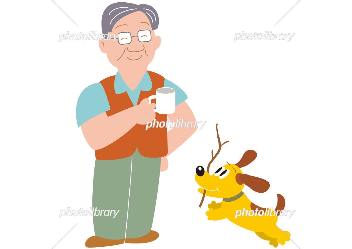 キャンプでコーヒーカップを持つお父さんと犬 イラスト素材 5711115
