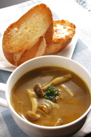 Mushroom curry soup and bread Stock photo [191672] Van