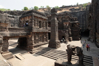 Ellora Caves 16th Cave Kairasanata temple panoramic view Stock photo [192216] World