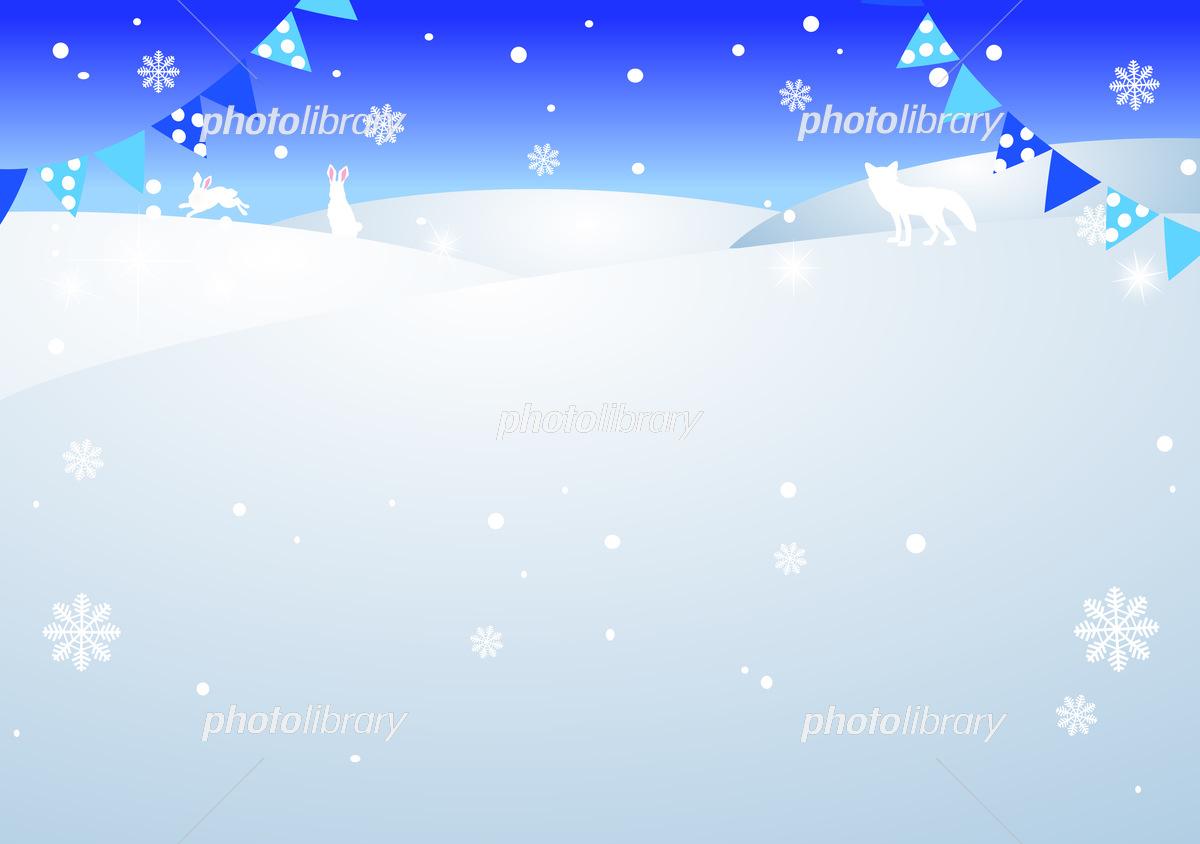 冬のフレーム 背景 壁紙 よこ イラスト素材 6217650 フォト