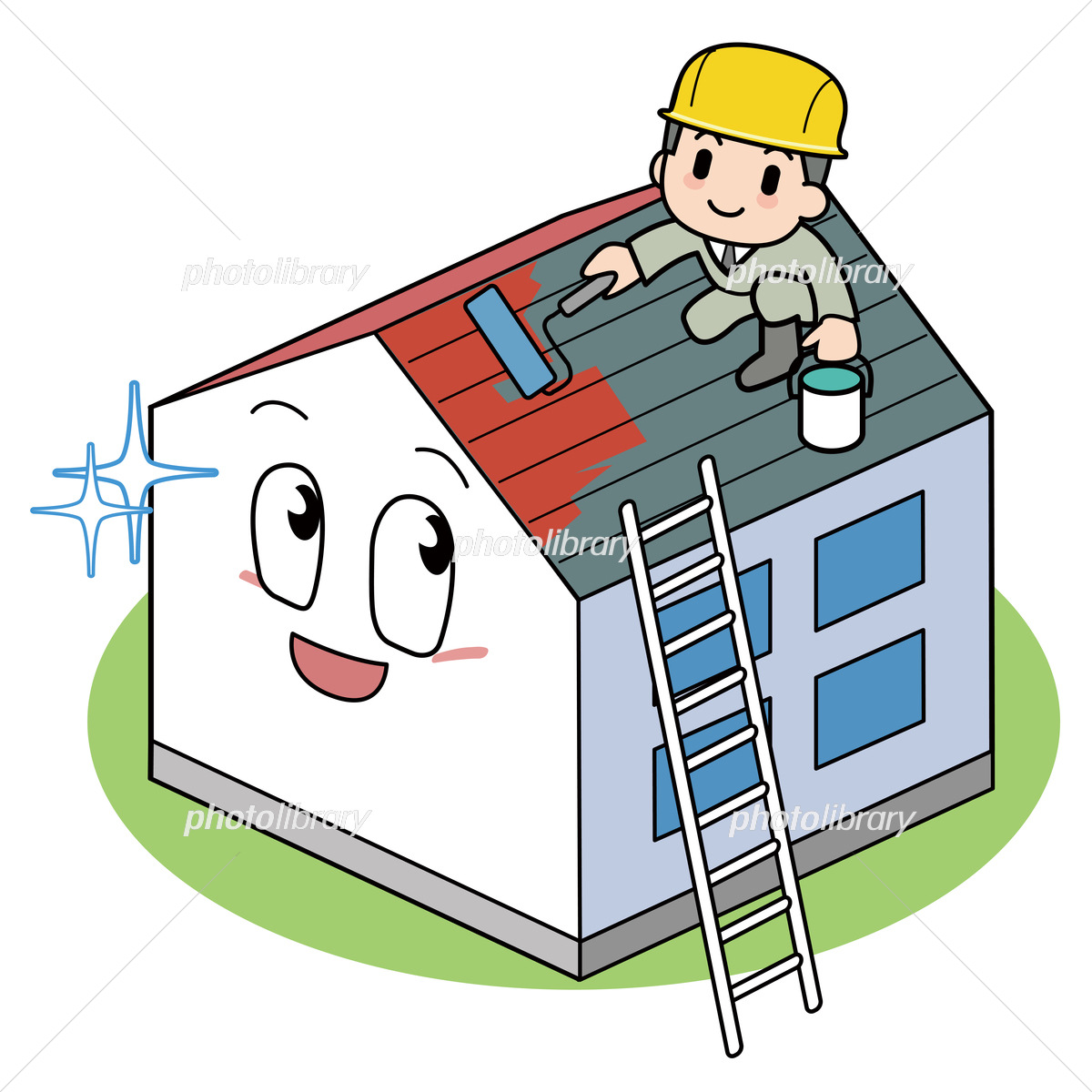 屋根のペンキ塗り イラスト素材 [ 6479455 ] - フォトライブラリー photolibrary