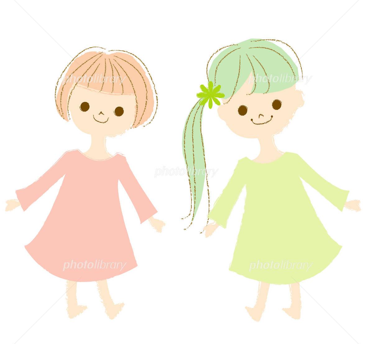 女の子二人 イラスト素材 710411 フォトライブラリー Photolibrary