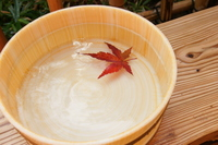 Autumn, leaves of maple and tub, hot spring Stock photo [712786] Hot
