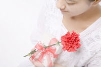 Women with a red carnation and gifts Stock photo [798286] Carnation