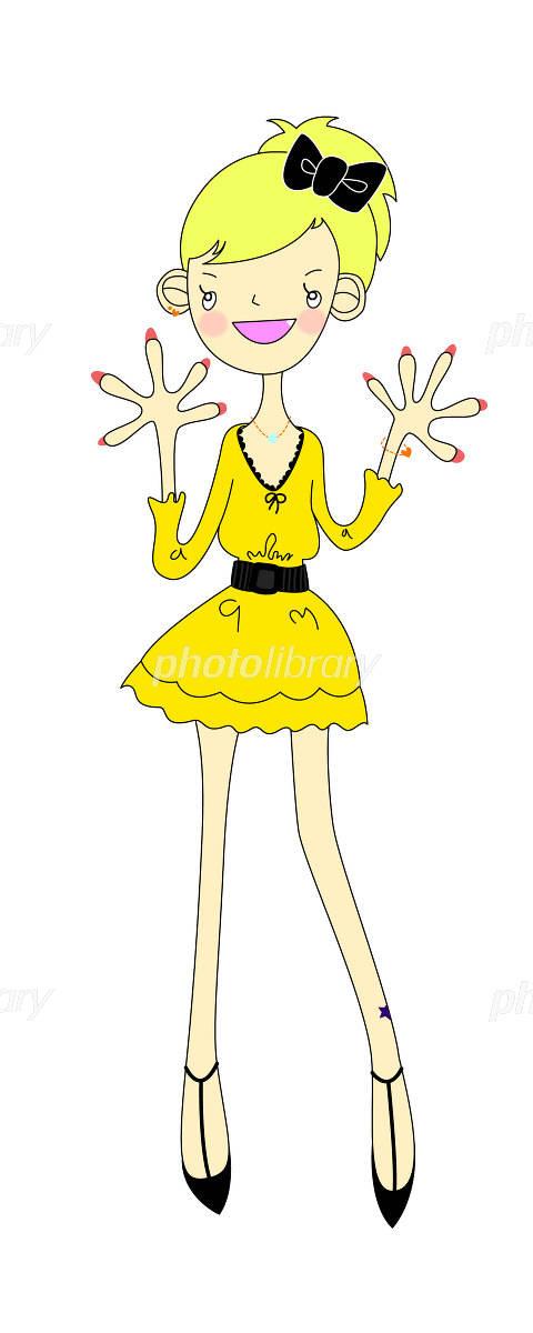 ミニドレスのおしゃれな女の子 イラスト素材 1060916