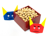 Containing beans in red demon and Aooni of origami and mass Stock photo [1168432] Demon