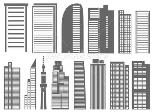 高層ビル シルエット イラスト素材 [ 1272908 ] 無料 , フォト