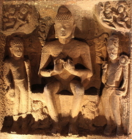 Ajanta Caves 26th Cave Buddha three statues Stock photo [1265464] Ajanta