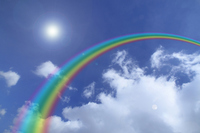 Rainbow and blue sky and white clouds Stock photo [1265681] Rainbow