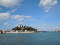 Castle floating in the sea Saga Karatsu Castle. Kyushu