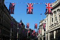 Regent Street, which is decorated with Union Jack Stock photo [1354163] Regent