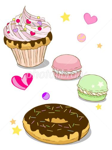ケーキとマカロンとドーナツ イラスト素材 1550947 フォトライブ
