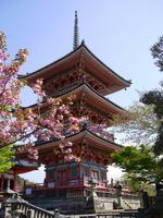 Kyoto World Heritage Kiyomizu Temple pagoda spring Stock photo [1553204] Kiyomizu