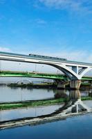 Toneri liner to shine in fan Bridge and river across the Arakawa Stock photo [1553722] Fan