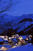 Ainokura Gassho village light up Stock photo [1658495] Gokayama