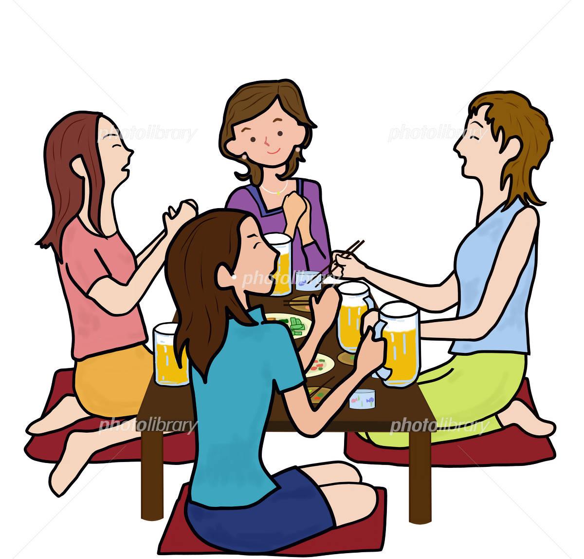 四人組の女子会のイラスト