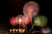 Large fireworks display of Gion Kashiwazaki Festival sea Stock photo [2046405] Kashiwazaki