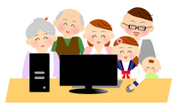Family to a personal computer with a smile [2150460] Smile