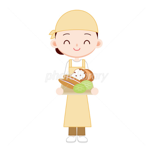 近所のパン屋さん 女性店員 イラスト素材 2400231 フォトライブ
