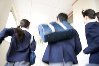 Junior high school men and women running down the hallway Stock photo [2411201] 10