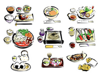 Japanese sukiyaki sushi other illustrations stock photo