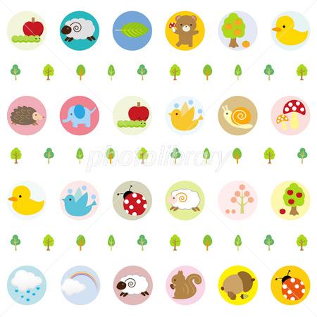 かわいい動物イラストパターン イラスト素材 2641986 フォトライブ