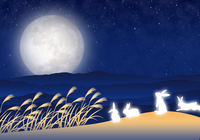 Moon-viewing image illustrations of stock photo
