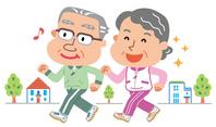 Walking elderly men and women illustration [2642324] Walking