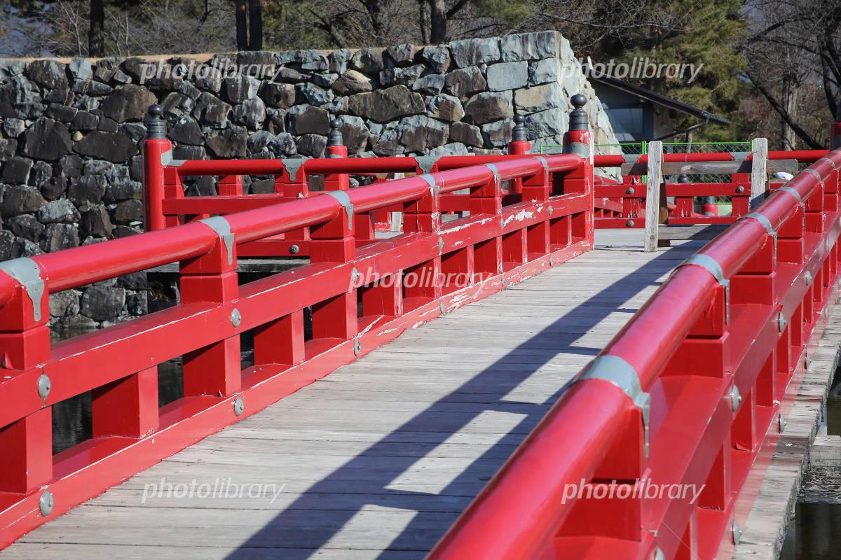Matsumoto Castle red bridge and stone wall Photo