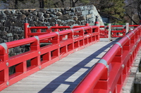 Matsumoto Castle red bridge and stone wall Stock photo [2892693] Bridge