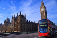 United Kingdom London Big Ben and double-decker stock photo