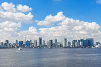 Tokyo Bay and the skyscrapers of the Gulf of blue sky spreads Stock photo [2894381] Blue